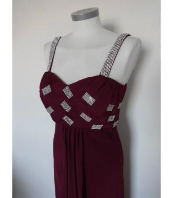 красива вечерна рокля в тъмна лила