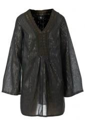 стилна вечерна туника в черно с метални нишки