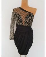 черна официална рокля с дантелени ръкави
