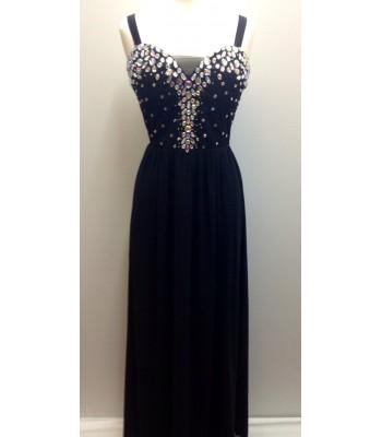 елегантна вечерна рокля обсипана с декоративни кристали в 2 гами