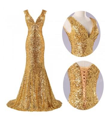 изящна абитуриентска рокля в злато 2015