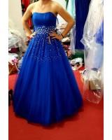 обемна бална рокля в кралско синьо със стотици камъни хит