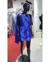 официална рокля в кралско синьо с нестандартен дизайн в 2 гами