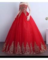 бална годежна рокля тип принцеса в ярко червено с 3 обръча