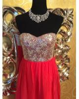 луксозна бутикова рокля с кристали в диня