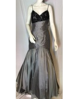 висококачествена бална рокля тип русалка в металик