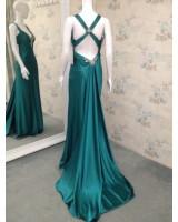 лимитирана серия луксозна бална рокля в маслинено зелено