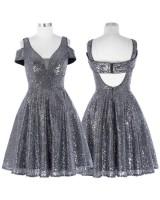 бална рокля с гол гръб в металик