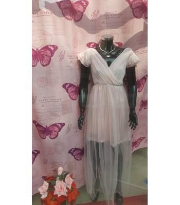 официална или шаферска рокля в нежно розово с къс ръкав