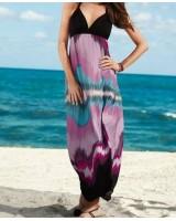 колоритна макси рокля в черно и лила S