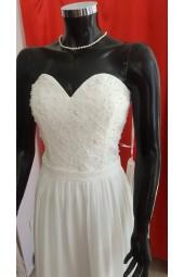бюджетна сватбена рокля с перли и шалче