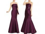 сатенена бална сватбена рокля в лила и шампанско