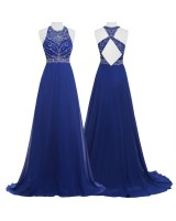 официална рокля с гол гръб и интересен дизайн в кралско синьо