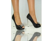 елегантни официални стилни  дамски обувки с брошка 35