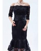 дантелена рокля стил майка на булката с падащи рамене в черно или кралско синьо