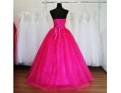абитуриентска рокля с панделка в екзотично розово