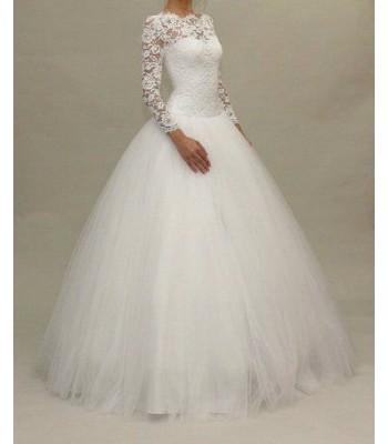 булчинска рокля с ръкави и ниска талия 2020