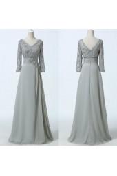 официална рокля декорирана със сива дантела и ръкави