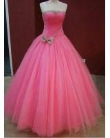 бална рокля тип принцеса в наситена розова гама