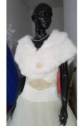 топла сватбена наметка тип болеро с яка от плюш и перли