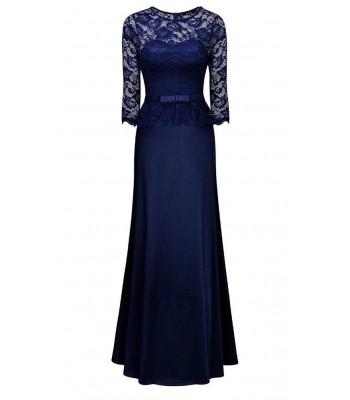 официална рокля декорирана с дантела в тъмно синьо и 3/4 ръкав