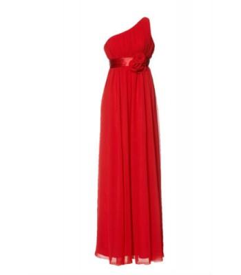 маркова вечерна бална рокля с едно рамо в червено