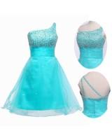 синя бална рокля на ниска цена с разпръснати камъчета 2018