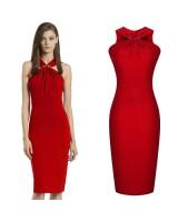 официална коктейлна рокля в страстно червено