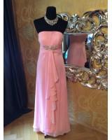 розова официална рокля с декоративни кристали