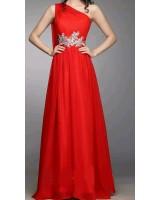 бална рокля с едно рамо и богата декорация в наситено червено