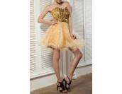 къса бална рокля в златисто