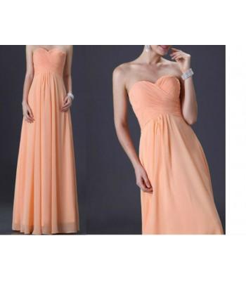 елегантна прасковена рокля в мини и макси размери