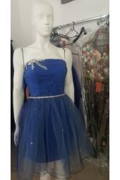 официална рокля в индиго и небесно- синьо с множество кристалчета