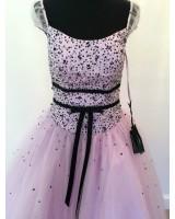 дизайнерска бална абитуриентска рокля тип принцеса в нежно розово