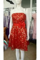 сияеща червена бална официална рокля с панделка Коледа стил