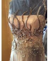 луксозна бална рокля в микс от телесна и златиста гама