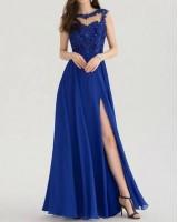 красива официална рокля с цепка и дантела Бални Рокли Благоевград 2020