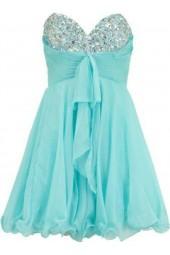 официална рокля със сърцевидно деколте обсипано с кристали