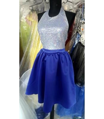 къса сияеща рокля в кралско синьо бални рокли Благоевград 2019