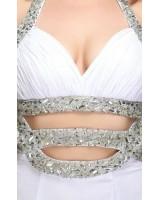 екстравагантна рокля с полугол гръб и кристали