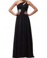 изтънчена елегантна рокля в черно с камъни и едно рамо хит 2019