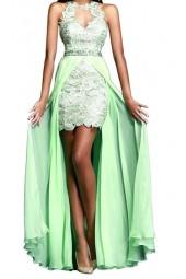 рокля 2 в 1 в мента с брюкселска дантела