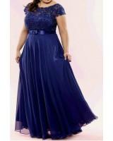 официална рокля за макси размер дами с дантела и сатен