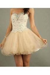 елегантна бална рокля в шампанско с кристали