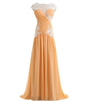 портокалова бална рокля с тюл и дантела