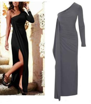 дамска официална вечерна рокля в сиво