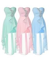асиметрична рокля в 7 гами с корсет от кристалчета