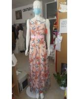 официална дълга рокля изпъстрена с 3D цветя