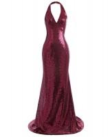 дълга сияеща рокля във винена гама