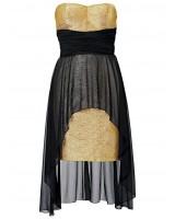 сияеща официална рокля в черно и златно